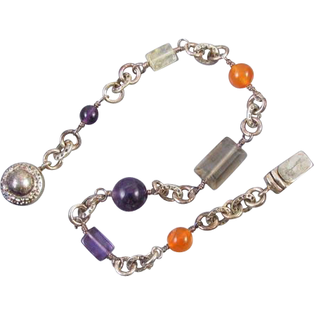 Modern estate genuine amethyst carnelian and smoky quartz sterling silver bracelet