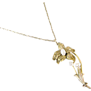Antique Edwardian Art Nouveau 10k gold fresh water pearl pendant necklace