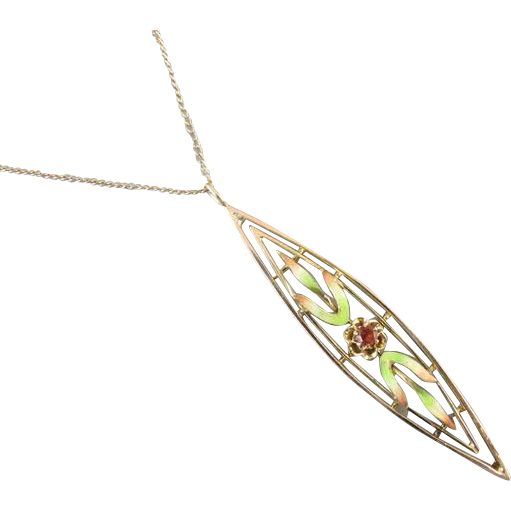 Antique Edwardian 14k gold enamel and garnet pendant necklace