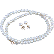 Modern estate genuine cultured pearl 10k gold necklace and pierced earrings set 5.5mm to 6mm
