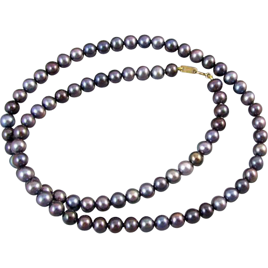 Modern estate black genuine cultured pearl and 10k gold necklace 5mm to 6mm