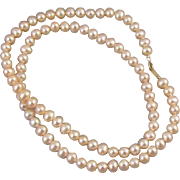 Modern estate pink genuine cultured pearl and 10k gold necklace 5mm to 6mm