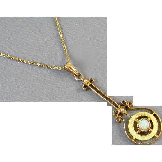 Antique Edwardian 10k lemon yellow guilloche enamel halo opal and seedpearl lavalier pendant necklace