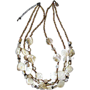 Fun vintage big chunky 3 strand mother of pearl abalone shell necklace