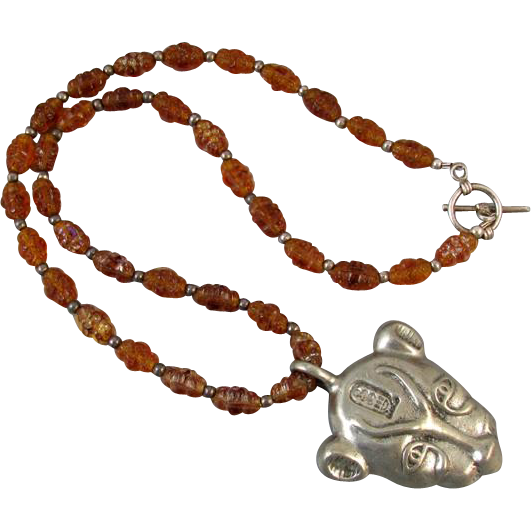 Vintage estate Egyptian goddess Mau Bastet cat head amulet Bohemian iridescent glass beads sterling silver toggle necklace Cairo Egypt