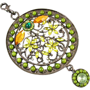 Vintage estate huge green jeweled medallion necklace pendant enhancer peridot emerald jade citrine pearl