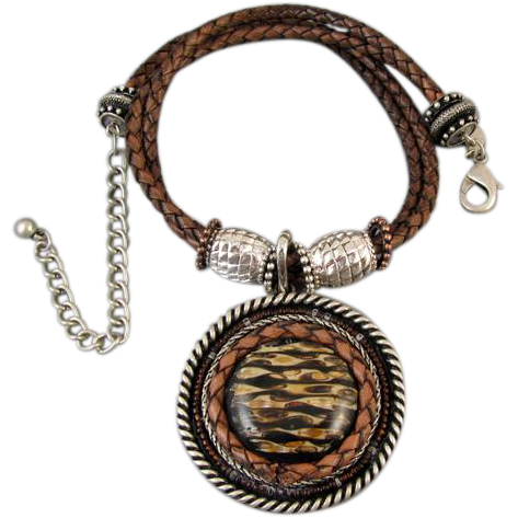 Modern estate huge signed Chicos medallion necklace brown faux leather silver tone Western style