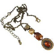 Vintage estate antiqued brass citrine and amber rhinestone lavalier pendant necklace signed NRT for Avon