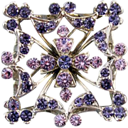 Vintage silver tone amethyst purple and lavender rhinestone brooch pin