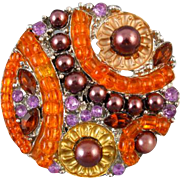 Vintage silver tone colorful rhinestone and faux brown pearl Art Deco style brooch pin
