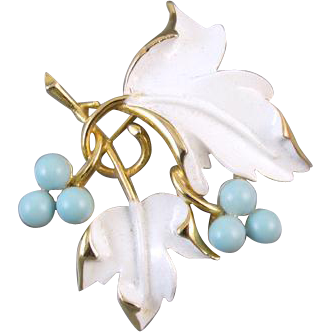 Vintage white painted enamel blue bead grape leaf brooch pin signed Sarah Coventry