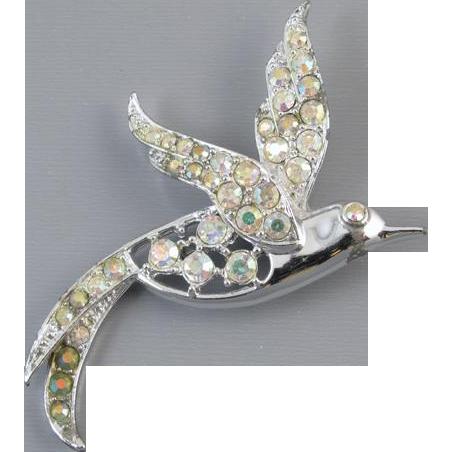 Vintage aurora borealis rhinestone bird pin signed Sarah Coventry