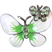 Vintage white and green enamel peridot crystal rhinestone butterfly brooch pin