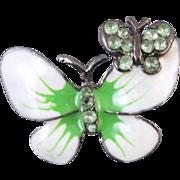 Vintage white and green enamel peridot crystal rhinestone butterfly brooch pin