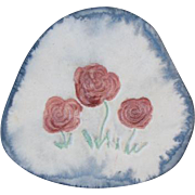 Darling hand made and painted ceramic three roses flower brooch pin
