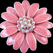 Vintage pink enamel aurora borealis crystal rhinestone flower brooch pin signed TC Tanya Creations
