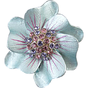 Vintage blue enamel pink and purple amethyst crystal rhinestone flower brooch pin signed Sarah Coventry