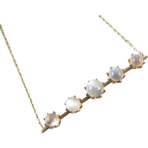 Antique Victorian 14k gold pendant necklace with 7.80 carats of natural moonstone