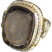 Vintage estate 14k gold smoky quartz and seed pearl intaglio statement ring with hearts, size 8-1/4