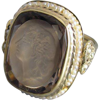 Massive vintage estate 14k gold 12.73 carat smoky quartz and seed pearl Bacchante wine goddess intaglio statement ring with hearts, size 8-1/4
