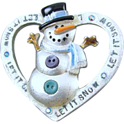 Vintage silver tone heart shaped snowman enamel rhinestone crystal Christmas Winter brooch pin signed AJMC