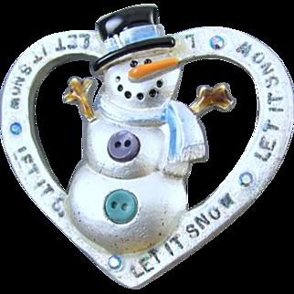 Vintage silver tone heart shaped snowman enamel rhinestone crystal Christmas Winter brooch pin signed AJMC