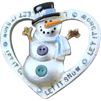 Vintage silver tone heart shaped snowman enamel rhinestone crystal Christmas Winter holiday Christmas brooch pin signed AJMC