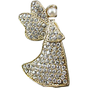 Vintage gold tone pave rhinestone crystal pearl angel holiday Christmas brooch pin