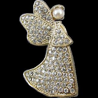 Vintage gold tone pave rhinestone crystal pearl angel brooch pin