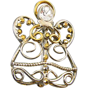 Vintage gold tone pave rhinestone crystal angel brooch pin
