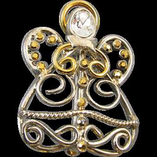 Vintage gold tone pave rhinestone crystal angel brooch pin