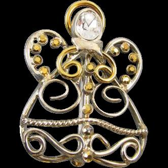 Vintage gold tone pave rhinestone crystal angel winter holiday Christmas brooch pin