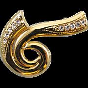 Vintage gold tone spiral rhinestone crystal brooch pin