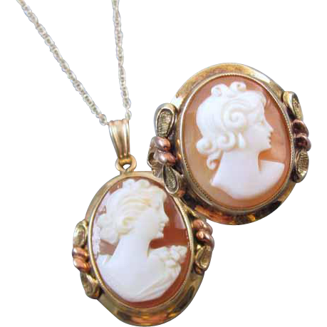 Vintage Art Deco signed JJ White multicolor 10k gold cameo ring / matching / cameo pendant / set / demi parure size 4-3/4