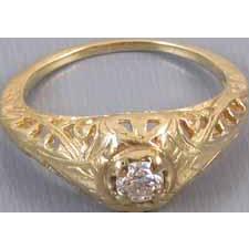 Vintage Art Deco 14k gold .15 carat diamond filigree engagement ring size 5