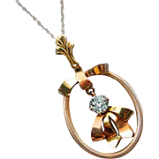 Signed Shiman Brothers & Co Esemco Art Deco Retro Moderne 10k genuine blue zircon lavalier necklace pendant