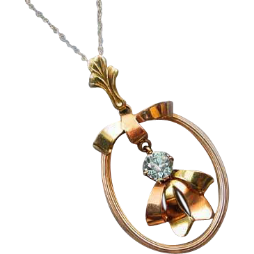 Vintage Retro Moderne ribbon bow shaped 10k gold genuine blue zircon pendant necklace signed Esemco Shiman Brothers