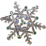 Vintage silver tone snowflake winter Christmas winter holiday rhinestone crystal brooch pin