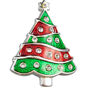 Vintage silver tone red and green enamel rhinestone crystal Christmas tree brooch pin