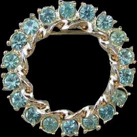 Vintage silver tone blue rhinestone crystal wreath circle brooch pin