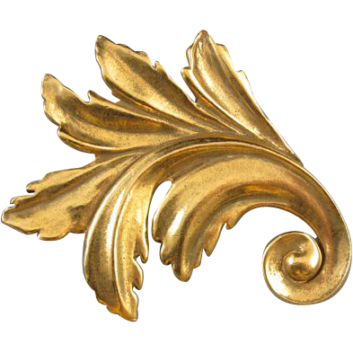 Vintage gold tone stylized Baroque leaf signed MMA Museum of Modern Art gilt on brass brooch pin