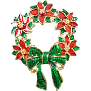 Vintage gold tone red and green enamel Poinsettia flower and bow Christmas winter holiday wreath brooch pin