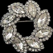 Vintage silver tone marquise rhinestone crystal wreath circle brooch pin