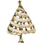 Vintage silver tone enamel rhinestone crystal snowy Christmas tree winter holiday brooch pin signed Gerrys