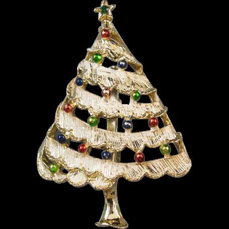 Vintage silver tone enamel rhinestone crystal snowy Christmas tree winter holiday brooch pin signed Gerrys