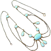 Antique Edwardian blue glass turquoise gold filled festoon necklace