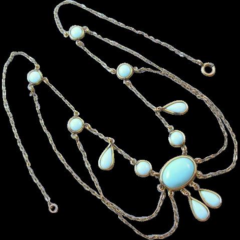 Antique Edwardian blue glass turquoise gold filled festoon necklace