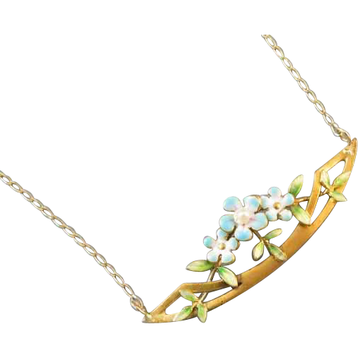 Antique Edwardian 14k gold enamel and seed pearl pendant necklace