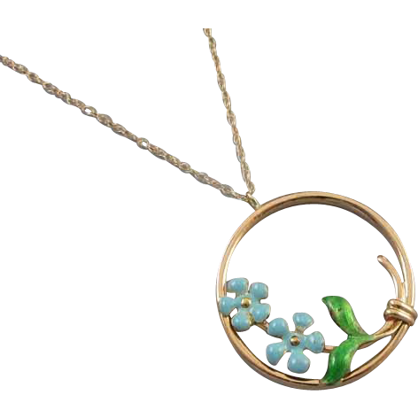 Antique Edwardian 14k gold enamel wreath circle pendant necklace