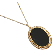 Antique Edwardian 14k gold seed pearl black onyx mourning pendant necklace